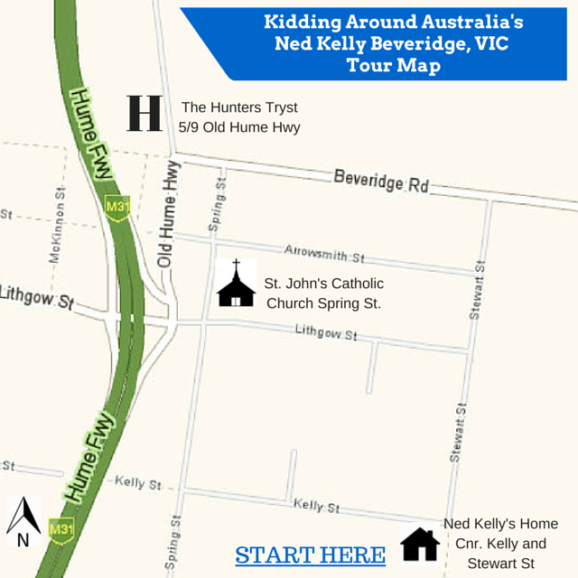 Ned Kelly tour Map