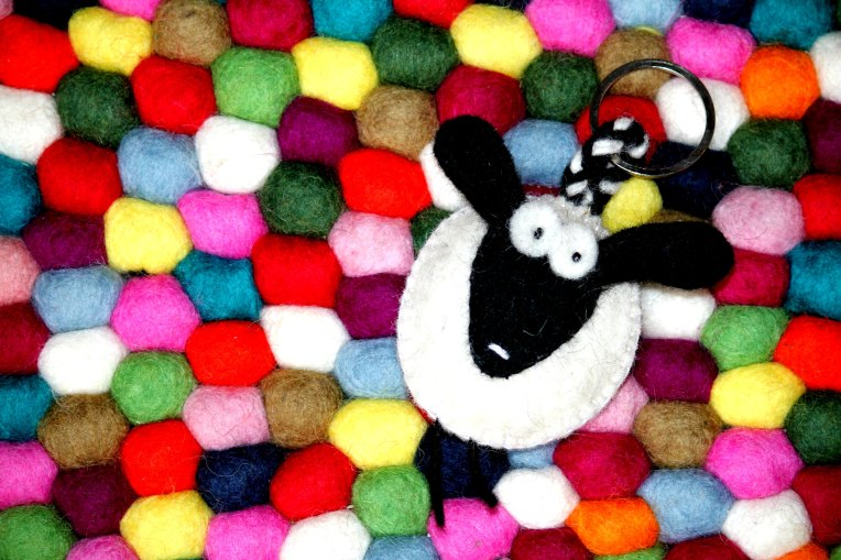 Felt Ball Rug Australia Sheep Keyring.jpg
