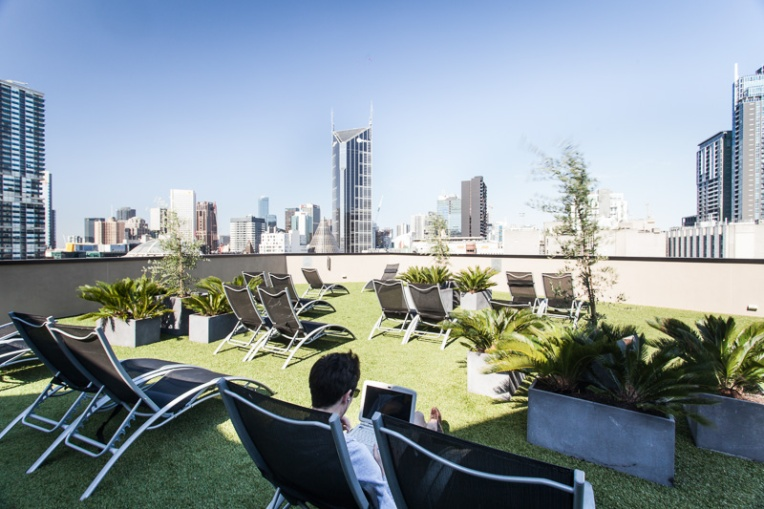 Sun lounges on Rooftop